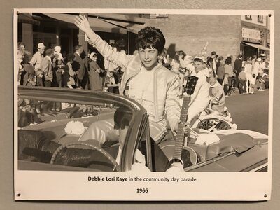 Photo- Debbie Lori Kaye in the Sault Ste Marie Community day Parade 1966 - Photo on display in the Sault Ste Marie Museum, part of the permanent Local Music Exhibition on the 3rd floor  -   Debbie Lori Kaye  +  Sault Ste Marie Museum  - Photo Credit:  Sault Ste Marie Museum