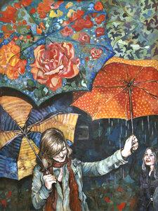 Joyful/Umbrellas by  Laura Bonnie