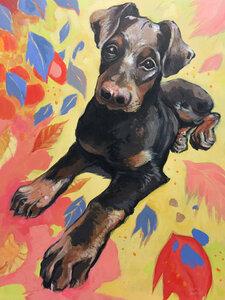 Mickey (portrait of a dog) by  Laura Bonnie