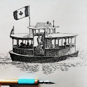 Harbour Ferry - Original Pen and Ink Artwork by  Adam Bartosik