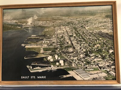 Photo- Sault Ste Marie circa 1970, this photo hangs on the wall at the bottom of the main stairway in the Sault Ste Marie Museum  -   The Soo Music Project +  Sault Ste Marie Museum