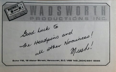 Photo- 1983 ad in the 3rd annual Tribute to Westcoast Music program guide  -   The Headpins