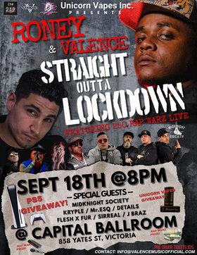 Straight Outta Lockdown: Roney, Valence Music , Mr. Esq, Kryple , Details musician, FleshXFur, Midknight Society, J Braz, Sirreal @ Capital Ballroom Sep 18 2021 - Sep 18th @ Capital Ballroom