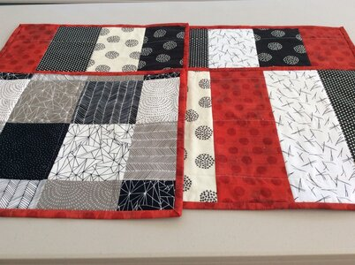 Placemats - Grunge Red (6) by  Della Cronkrite