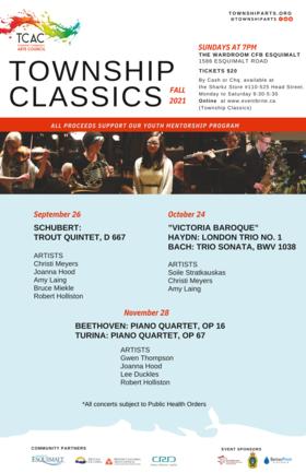 Township Classics Plays the Trout Quintet: Christi Meyers, Joanna Hood, Robert Holliston, Amy Laing, Bruce Meikle @ Wardroom, CFB Esquimalt, 1586 Esquimalt Road Sep 26 2021 - Sep 18th @ Wardroom, CFB Esquimalt, 1586 Esquimalt Road