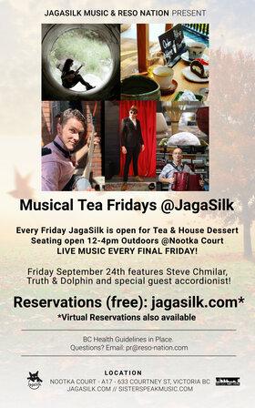 Musical Tea Fridays at JagaSilk (Outdoors): Sister Speak, Steve Chmilar, Truth And Dolphin, Katrina Kadoski @ Jagasilk (Outdoors) Oct 29 2021 - Oct 23rd @ Jagasilk (Outdoors)