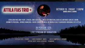 Attila Fias Trio +: Attila Fias, Louis Rudner, Alex Campbell, Nick La Riviere @ Hermann's Jazz Club Oct 15 2021 - Oct 22nd @ Hermann's Jazz Club
