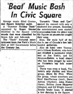 Photo- Victoria Daily Times 11 July 1966 Credit Lotus Johnson  -   Blues X Five