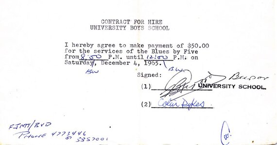 Photo- Bb5contract1965  -   Blues X Five