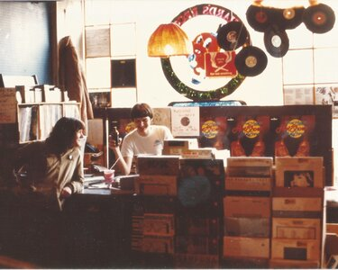 Photo- Richard\'s Records on Government St. with Scott Henderson and UW albums.  -   Uncle Wigglys Hot Shoes Blues Band