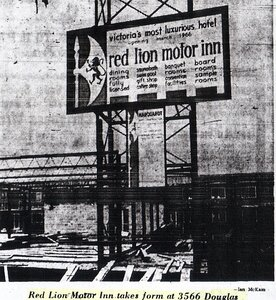 Photo- Building the Red Lion Motor Inn on Douglas Street in 1965. This great Ian McKain photograph from a local Victoria newspaper shows the early stages of construction for the new Red Lion Motor Inn. The parking lot of the new hotel is being built on the site   -   Red Lion Motor Inn  - Photo Credit:  Ian McKain