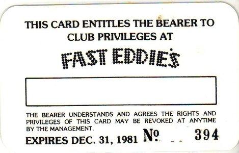 Photo- Fast Eddies Club Card Back  -   Red Lion Motor Inn