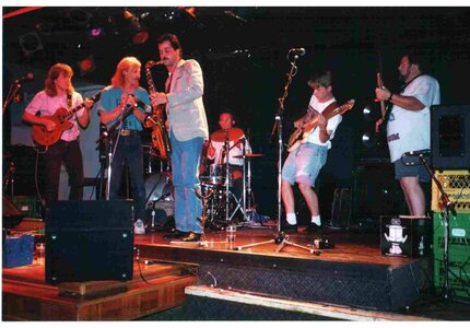 Photo- Here\'s a Throwback to 1989. I think it was a Blues Talent Contest put on By Phil Marshall and The winners played a set at The Old Rail Pub In Vic. Left to right: Steve Anderson Rocky St John Scott Ramsay Fred Krammer Lawry Rugg Scott Cook Lawry e  -   Colony Motor Inn