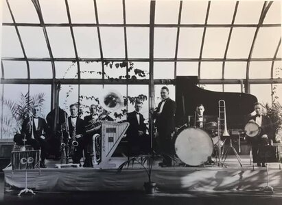 Photo- L to R - Billy Davidson, Harry Holder, Harry Day, Len Acres, Billy Tickle (Leader), Harry Pigot, and Fred Pit  -   Crystal Ballroom