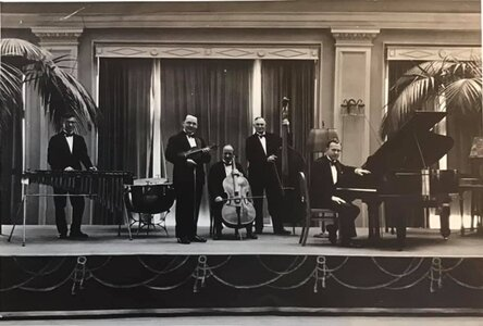 Photo- Credit Stu Pigot 1932 Empress Concert Band - L.toR. - Harry Pigot, Billy Tickle, Frank Balagno, Harry Day, and Malcolm Moore  -   Crystal Ballroom