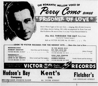Photo- April 28, 1946  -   Kent\'s  - Photo Credit:  Daily Colonist