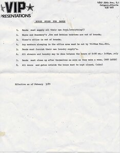 Photo- Band house rules for Calgary office 1981  -   Vancouver Island Promotions
