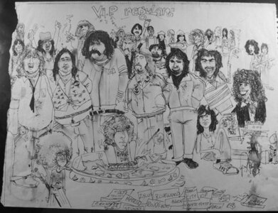 Photo- Caricature of the Vancouver Island Promotions owners,bands, roadies and staff by Paul Archer. All the names are:Andrew White, John Dick, Glenn Thomas, Nigel D V Hawkins, Daryl Spencer. Mike Woods, Ed Baarda (RIP), Paul Archer, Peter Bobb, Randy Miller, Ja  -   Vancouver Island Promotions