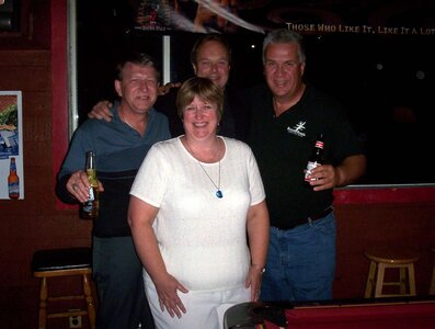 Photo- Ron Wright, Liz MacKenzie, Brent Patriquin and Glenn Parfitt reunited during 1990\'s  -   Vancouver Island Promotions