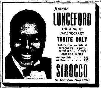 Photo- Jimmy Lunceford - Sirocco June 1946  -   Club SirOCCO