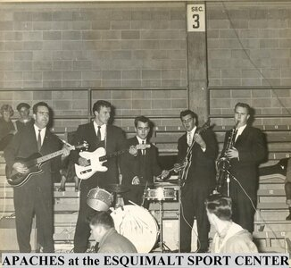 Photo- The Apaches circa 1961 playing at the newly opened Esquimalt Sports Centre for a KITN radio promotion \
