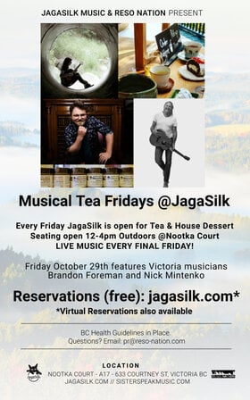 Musical Tea Fridays at JagaSilk (Outdoors): Sister Speak, Nick Mintenko, Brandon Foreman, Katrina Kadoski, Truth And Dolphin, Steve Chmilar @ Jagasilk (Outdoors) Oct 29 2021 - Oct 28th @ Jagasilk (Outdoors)