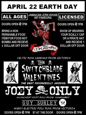 Creepy Greasy and Angry Celtic Punk and Phycobilly with a touch of Anti-Folk!: The McGillicuddys, The Switchblade Valentines, Joey Only, Guy Surley @ Jamaican Jerk House Apr 22 2006 - Jan 15th @ Jamaican Jerk House