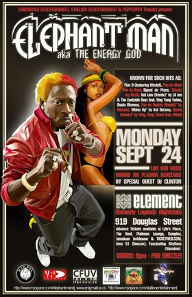 ELEPHANT MAN COMES TO VICTORIA FOR SHIZZLE!: ELEPHANT MAN, Clinton Walford @ Element Sep 24 2007 - Oct 20th @ Element