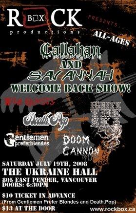 All-ages w/BEER GARDEN!!!: Callahan, Savannah, Death.Pop, Ignite The Sea, Doom Cannon @ The Ukrainian Hall Jul 19 2008 - Sep 27th @ The Ukrainian Hall